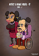 If Cartoon Characters Looked Their Age<br /> <br /> Andrew Tarusov, a Russian artist, created a series of illustrations portraying our favourite cartoon characters as pensioners. The artist imagined each of them having had a long and complicated life.<br /> <br /> Micky is the animation tycoon, Goofy didn't get insurance and became homeless, Daisy left Donald because of his gambling, Tom & Jerry have health problems because of their reckless youth and many of them are older than 80.<br /> <br /> Andrew Tarusov has  settled down in Los Angeles, California. Having studies for 10 years, his occupation is art and animation. He likes vintage style Pin-Ups and comics.<br /> <br /> Photo shows: Mickey & Minnie Mouse – 87 (1928 – …)<br /> ©Excluisvepix Media