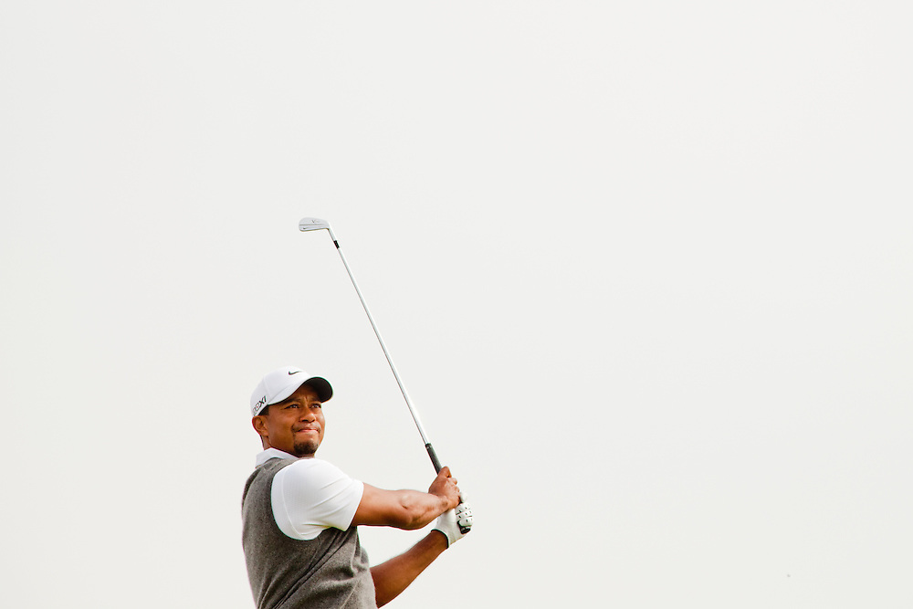 LYTHAM ST. ANNES, ENGLAND - JULY 21:  Tiger Woods plays a tee shot during the third round of the 141st Open Championship at Royal Lytham St Annes Golf Club in in Lytham St. Annes, England on July 21, 2012. (Photograph ©2012 Darren Carroll) *** Local Caption *** Tiger Woods