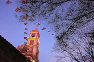 Bolivia. Tarija. Festa di San Roque..The bell tower of the church of San Roque in a night of the feast.