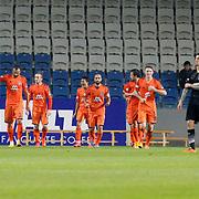Istanbul Basaksehir's players celebrate goal during their Turkish Super League soccer match Istanbul Basaksehir between Besiktas at the Basaksehir Fatih Terim Arena at Basaksehir in Istanbul Turkey on Sunday, 09 November 2014. Photo by Kurtulus YILMAZ/TURKPIX