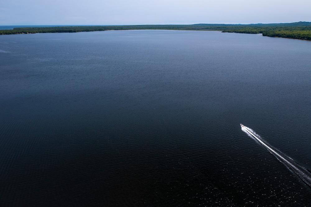 A powerboat on Lake Independence at Big Bay, Michigan.