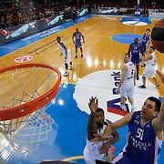 Anadolu Efes's Milko Bjelica (R) during their Turkish Airlines Euroleague Basketball Group A Round 9 match Anadolu Efes between Nizhny Novgorod at Abdi ipekci arena in Istanbul, Turkey, Friday December 12, 2014. Photo by Aykut AKICI/TURKPIX