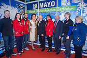 NO FEE PICTURES<br /> 23/1/16 Minister for Tourism Michael Ring and Maureen Ledwith, organiser of the Holiday World Show at the Mayo stand at the Holiday World Show at the RDS in Dublin. Picture: Arthur Carron