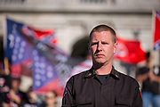 Harrisburg, PA -- Ken Parker of the National Socialist Movement (NSM) at a 2016 rally of white supremacists at the Pennsylvania State Capitol.
