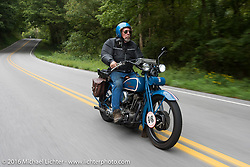 Fred Lange riding his 1929 Harley-Davidson JDH during Stage 4 of the Motorcycle Cannonball Cross-Country Endurance Run, which on this day ran from Chatanooga to Clarksville, TN., USA. Monday, September 8, 2014.  Photography ©2014 Michael Lichter.