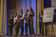 Purchase, NY – 31 October 2014. Valhalla High School students presnting their case. (Left to right: Jenna Goldberg, Jordyn  Gardner, Michael Nduka, Tyler Willis, Gabrielle Orr, Daniela Espinosa.) The Business Skills Olympics was founded by the African American Men of Westchester, is sponsored and facilitated by Morgan Stanley, and is open to high school teams in Westchester County.