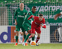 RAZGRAD, BULGARIA - OCTOBER 22: Pieter Gerkens of Antwerp competes against Alex Santana of Ludogorets during the UEFA Europa League Group J stage match between PFC Ludogorets Razgrad and Royal Antwerp at Ludogorets Arena on October 22, 2020 in Razgrad, Bulgaria. (Photo by Nikola Krstic/MB Media)