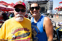 Jody and Dave Perewitz at their Perewitz Paint Show at the Iron Horse Saloon during the Sturgis Motorcycle Rally. Sturgis, SD, USA. Wednesday, August 11, 2021. Photography ©2021 Michael Lichter.