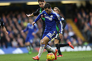 Eden Hazard of Chelsea is intercepted by Philipp Wollscheid of Stoke City.Barclays Premier league match, Chelsea v Stoke city at Stamford Bridge in London on Saturday 5th March 2016.<br /> pic by John Patrick Fletcher, Andrew Orchard sports photography.
