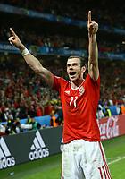 Gareth Bale (Wales) celebrating the victory. esultanza vittoria<br /> Lille 01-07-2016 Stade Pierre Mauroy Football Euro2016 Wales - Belgium / Galles - Belgio <br /> Quarter-finals. Foto Matteo Ciambelli / Insidefoto