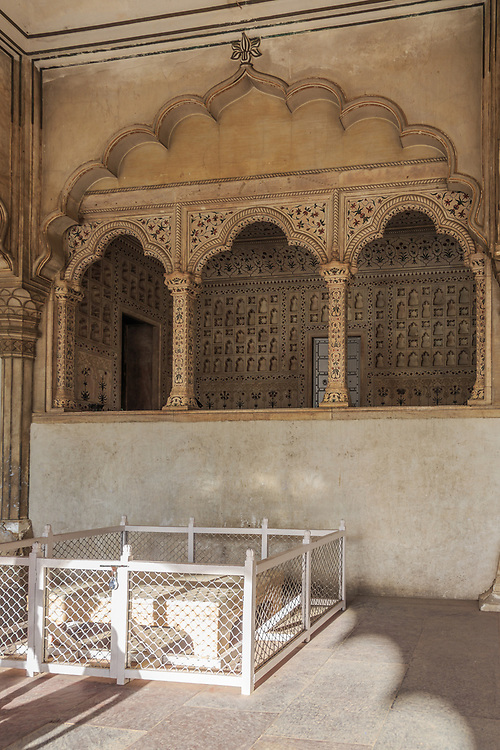 Diwan-i-am in Agra Fort , India.There is a rectangular marble dice with four foots in the Diwan-i-Am in front of the Jharoka where the Prime Minister used to stand and submit the grievance applications of the public to the Emperor for consideration.