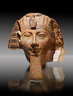 Ancient Egyptian statue head of Queen Hatshepsut or King Thutmose III. Ancient Egypt 18th Dynaty, 1460-1450 BC. Neues Museum Berlin Cat No: AM 34431. .<br /> <br /> If you prefer to buy from our ALAMY PHOTO LIBRARY  Collection visit : https://www.alamy.com/portfolio/paul-williams-funkystock/ancient-egyptian-art-artefacts.html  . Type -   Neues    - into the LOWER SEARCH WITHIN GALLERY box. Refine search by adding background colour, subject etc<br /> <br /> Visit our ANCIENT WORLD PHOTO COLLECTIONS for more photos to download or buy as wall art prints https://funkystock.photoshelter.com/gallery-collection/Ancient-World-Art-Antiquities-Historic-Sites-Pictures-Images-of/C00006u26yqSkDOM