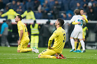 Villarreal Daniele Bonera nd Alvaro Gonzalez celebrating the victory during La Liga match between Real Madrid and Villarreal CF at Santiago Bernabeu in Madrid, Spain. January 13, 2018. (ALTERPHOTOS/Borja B.Hojas)