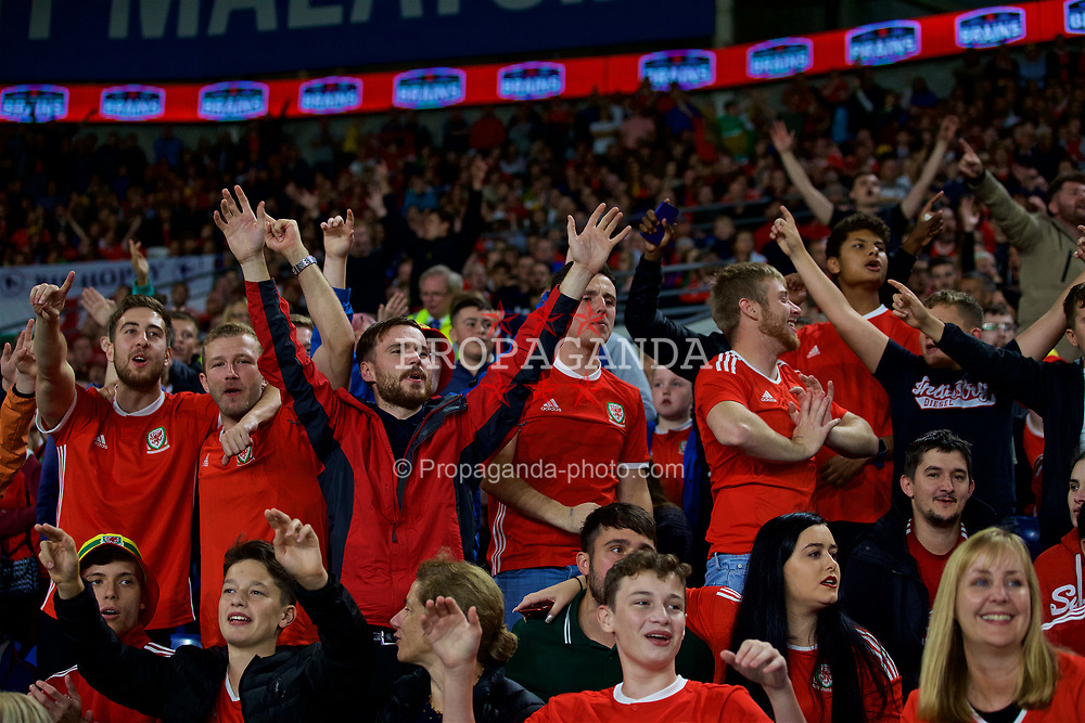 CARDIFF, WALES - Thursday, September 6, 2018: Wales supporters during the UEFA Nations League Group Stage League B Group 4 match between Wales and Republic of Ireland at the Cardiff City Stadium. (Pic by Paul Greenwood/Propaganda)