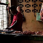Butcher at the market of Cienfuegos