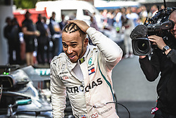 May 13, 2018 - Barcelona, Catalonia, Spain - LEWIS HAMILTON (GBR) gets out of his Mercedes W09 EQ Power + after winning the Spanish GP at Circuit de Barcelona - Catalunya (Credit Image: © Matthias Oesterle via ZUMA Wire)