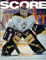 1999 RHI Anaheim Bullfrogs program.  Goalie Rob Laure on the cover of SCORE magazine.