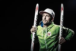 """21.10.2014, das kleine Berghotel, Riezlern, AUT, OESV, Nordische Kombinierer, Fotoshooting, im Bild Mario Stecher (AUT) // Mario Stecher of Austria during the Photoshooting of the Ski Austria Nordic Combined Team at """"das kleine Berghotel"""", Riezlern, Austria on 2014/10/21. EXPA Pictures © 2014, PhotoCredit: EXPA/ JFK"""