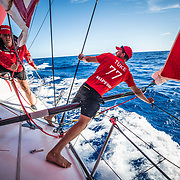 Leg 8 from Itajai to Newport, day 06 on board MAPFRE, Blair Tuke and Tamara Echegoyen during a peeling. 27 April, 2018.