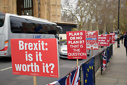 Daily parliamentary protest by SODEM - Stand of Defiance European Movement which was started by Stephen Bray on 2017 in protest at Brexit.  Every day he and his campaigners are outside The Houses of Parliament, London 5 March 2019 UK