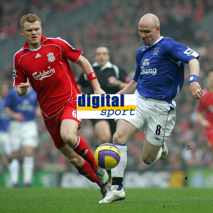 Photo: Paul Thomas.<br /> Liverpool v Everton. The Barclays Premiership. 03/02/2007.<br /> <br /> Andy Johnson (R) of Everton gets past John Arne Riise.
