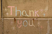The word Thank You written in chalk on Ramsgate's sea wall near the former ferry terminal in the Port of Ramsgate, on 8th January 2019, in Ramsgate, Kent, England. The Port of Ramsgate has been identified as a 'Brexit Port' by the government of Prime Minister Theresa May, currently negotiating the UK's exit from the EU. Britain's Department of Transport has awarded to an unproven shipping company, Seaborne Freight, to provide run roll-on roll-off ferry services to the road haulage industry between Ostend and the Kent port - in the event of more likely No Deal Brexit. In the EU referendum of 2016, people in Kent voted strongly in favour of leaving the European Union with 59% voting to leave and 41% to remain.
