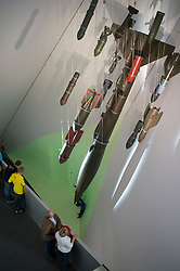 Bombs and missiles at Military Historical Museum of the Bundeswehr (MHM) in Dresden Saxony Germany Architect Daniel Libeskind