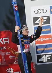 04.01.2020, Bergiselschanze, Innsbruck, AUT, FIS Weltcup Skisprung, Vierschanzentournee, Innsbruck, Siegerehrung, im Bild Marius Lindvik freut sich über seinen 2. Sieg bei der Vierschanzen Tourneee // during the winner Ceremony for the Four Hills Tournament of FIS Ski Jumping World Cup at Bergiselschanze in Innsbruck, Austria on 2020/01/04. EXPA Pictures © 2020, PhotoCredit: EXPA/ SM<br /> <br /> *****ATTENTION - OUT of GER*****