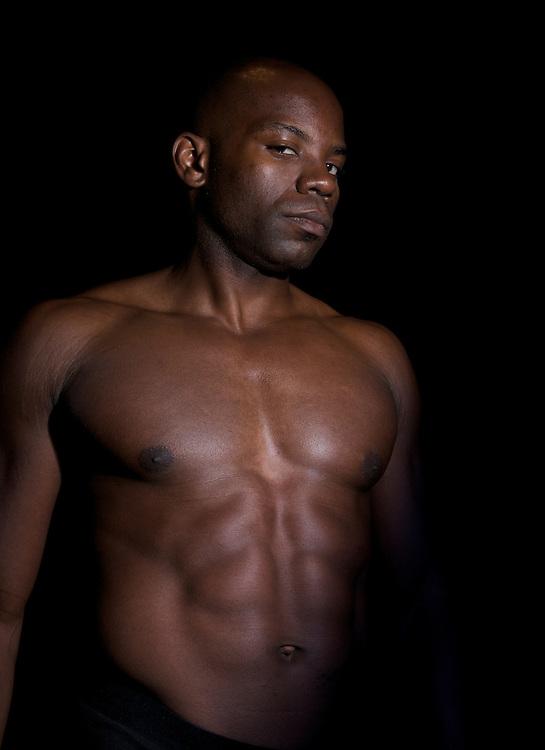 African american body builder looking sad.