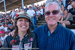 20th Century Racing's Spirit of Sturgis race promoter Brittney Olsen with Harley-Davidson designer Ray Drea at the Sturgis Black Hills Motorcycle Rally. Sturgis, SD, USA. Monday, August 5, 2019. Photography ©2019 Michael Lichter.