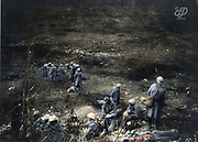 "Colorized photographs soldiers from the World War One<br /> <br /> With his impressive colorized photographs of the World War One, Frédéric Duriez gives us a new look at the conflict that ravaged the world between 1914 and 1918, revealing the difficult daily life of the French soldiers. <br /> <br /> Photo Shows: ""Region of Verdun - 1916<br /> After the fighting, soldiers surrounded the bodies of their comrades.<br /> ©Frédéric Duriez/Exclusivepix Media"