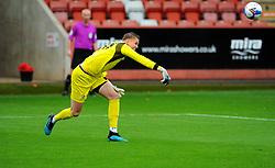 Josh Griffiths of Cheltenham Town throws the ball back into play - Mandatory by-line: Nizaam Jones/JMP - 24/10/2020 - FOOTBALL - Jonny-Rocks Stadium - Cheltenham, England - Cheltenham Town v Mansfield Town - Sky Bet League Two