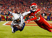 during an NFL football game against the \ on Thursday, Dec. 13, 2018, in Kansas City, Mo. The Chargers defeated the Chiefs, 29-28. (Ryan Kang via AP)