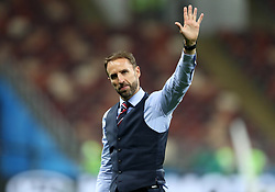 England manager Gareth Southgate wavesto fans after the FIFA World Cup, Semi Final match at the Luzhniki Stadium, Moscow. PRESS ASSOCIATION Photo. Picture date: Wednesday July 11, 2018. See PA story WORLDCUP Croatia. Photo credit should read: Owen Humphreys/PA Wire. RESTRICTIONS: Editorial use only. No commercial use. No use with any unofficial 3rd party logos. No manipulation of images. No video emulation.