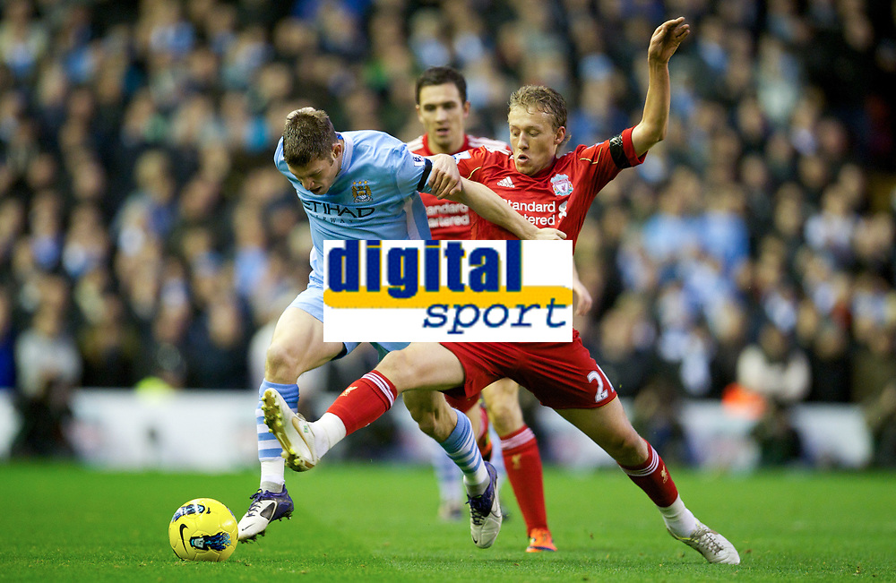 20111127: LIVERPOOL, ENGLAND - <br /> FC Liverpool vs Manchester City: English Premier League 2011/2012.<br /> In photo: Lucas Leiva in action against Manchester City's James Milner.<br />  PHOTO: CITYFILES