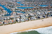 Aerial Stock Photo of Sunset Beach in Huntington Beach California