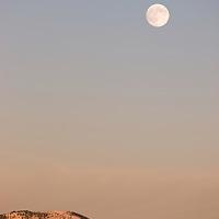 Moonrise over Bridger Mountains near Bozeman, Montana
