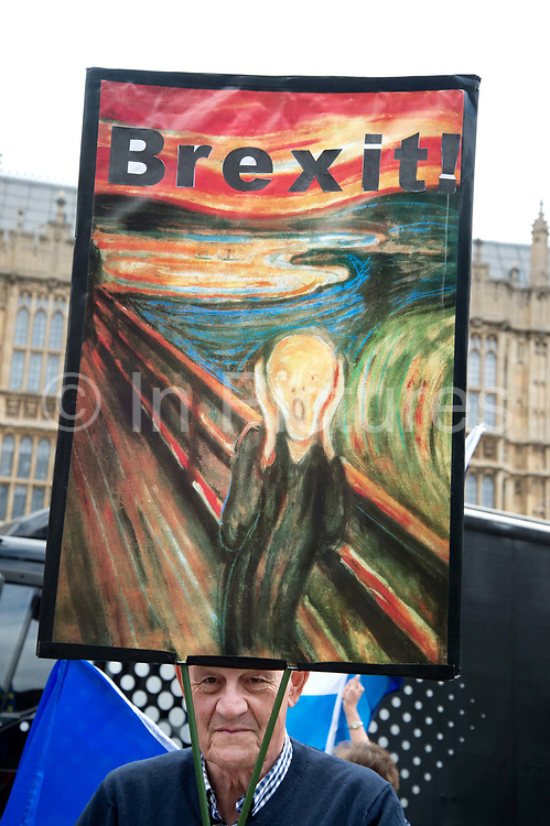 Anti Brexit protesters outside Parliament, Westminster, London as Members of Parliament debate the European Union withdrawal bill, June 20th 2018. A protester from Bath holds a reproduction of the iconic painting The Scream by Edvard Munch.