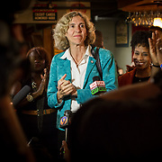 Outgoing Charlotte mayor, Jenifer Roberts, gives her concession speech during an election night rally during the primary.