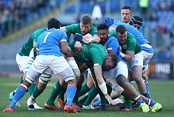 February 24, 2019 - Rome, Italy - Italy v Ireland - Rugby Guinness Six Nations.The two teams fighting after a scrum at Olimpico Stadium in Rome, Italy on February 24, 2019. (Credit Image: © Matteo Ciambelli/NurPhoto via ZUMA Press)