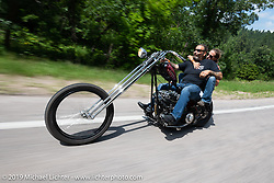 Cycle Source Magazine editors / publishers Heather and Chris Callen riding their Something Wicked custom Harley-Davidson Shovelhead on their Cycle Source Ride up Vanocker Canyon to Nemo during the Sturgis Black Hills Motorcycle Rally. SD, USA. Wednesday, August 7, 2019. Photography ©2019 Michael Lichter.