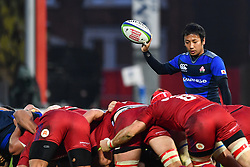Yutaka Nagare of Japan prepares to but the ball into the scrum<br /> <br /> Photographer Craig Thomas<br /> <br /> Japan v Russia<br /> <br /> World Copyright ©  2018 Replay images. All rights reserved. 15 Foundry Road, Risca, Newport, NP11 6AL - Tel: +44 (0) 7557115724 - craig@replayimages.co.uk - www.replayimages.co.uk