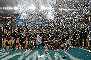 27.09.2014. All Blacks celebrate winning the Rugby Championship for 2014.Test Match Argentina vs All Blacks during the Rugby Championship at Estadio Único de la Plata, La Plata, Argentina.