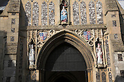 St Nicholas church, North Walsham, Norfolk, England.  The present church dates from the 1300s and was once dedicated to the Blessed Virgin Mary, the change to St. Nicholas happened after the reformation. Her statue still occupies its prime position in the centre of the main entrance porch.