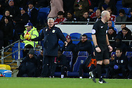 Steve Bruce, the Aston Villa manager looks on frustrated at referee Andy Davies. EFL Skybet championship match, Cardiff city v Aston Villa at the Cardiff City Stadium in Cardiff, South Wales on Monday 2nd January 2017.<br /> pic by Andrew Orchard, Andrew Orchard sports photography.