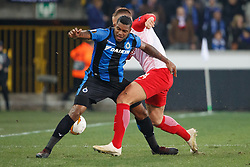 February 14, 2019 - Brugge, BELGIUM - Club's Wesley Moraes and Salzburg's Marin Pongracic fight for the ball during a soccer game between Belgian team Club Brugge KV and Austrian club FC Red Bull Salzburg, the first leg of the 1/16 finals (round of 32) in the Europa League competition, Thursday 14 February 2019 in Brugge. BELGA PHOTO KURT DESPLENTER (Credit Image: © Kurt Desplenter/Belga via ZUMA Press)