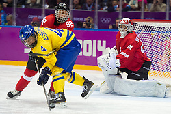 20.02.2014, Bolshoy Ice Dome, Adler, RUS, Sochi, 2014, Eishockey Damen, Spiel um die Bronzemedaille, im Bild Jenni Asserholt (SWE) gegen Sandra Thalmann (SUI) // during Womens Icehockey Match for Bronze Medal of the Olympic Winter Games Sochi 2014 at the Bolshoy Ice Dome in Adler, Russia on 2014/02/20. EXPA Pictures © 2014, PhotoCredit: EXPA/ Freshfocus/ Urs Lindt<br /> <br /> *****ATTENTION - for AUT, SLO, CRO, SRB, BIH, MAZ only*****