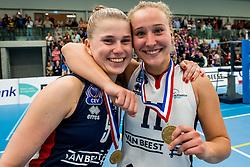 29-09-2018 NED: Supercup Sliedrecht Sport - Eurosped, Sliedrecht<br /> Sliedrecht takes the first price of the new season / Florien Reesink #5 of Sliedrecht Sport, Ana Rekar #11 of Sliedrecht Sport