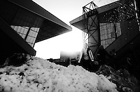 General view of fans throwing snowballs before the match<br /> <br /> Photographer Jack Phillips/CameraSport<br /> <br /> Football - The Football League Sky Bet Championship - Nottingham Forest v Birmingham City - Saturday 28th December - The City Ground - Nottingham<br /> <br /> © CameraSport - 43 Linden Ave. Countesthorpe. Leicester. England. LE8 5PG - Tel: +44 (0) 116 277 4147 - admin@camerasport.com - www.camerasport.com
