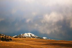 Stormy sky over Mount Baldy and the rolling hills of Swan Valley Idaho